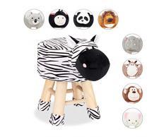 Relaxdays - Sgabello a Forma di Zebra, per Bambini, con Rivestimento Rimovibile, Gambe in Legno, Imbottito, Nero e Bianco