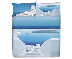 Gabel Planet Santorini Completo Lenzuolo Copriletto, 100% Cotone, Multicolore, Matrimoniale, 290x250x1 cm