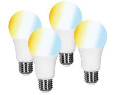 Müller-Licht Set di LED E27, 4 x Lampade a goccia, bianco (tonalità bianca 2700-6500K), dimmerabile, sostituisce lampadina da 60W, funziona con Amazon Alexa