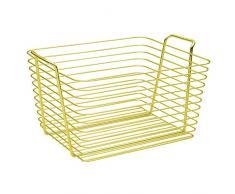 InterDesign Classico Cesto portaoggetti, Grande cesto con manici in metallo ideale per il bagno o per la cameretta, oro