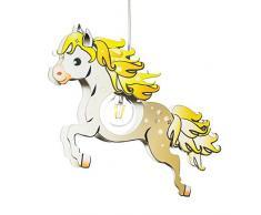 Elobra - Lampada a sospensione per bambini, a forma di cavallo, in legno, 40 W, colore: marrone