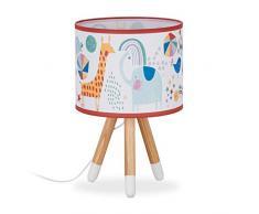 relaxdays Lampada da Tavolo per Bambini, Paralume Decorato con Animali, Tre Gambe HxLxP: 40 x 25 x 25 cm ca, Colorata