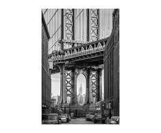 Komar - Quadro, Motivo: Ponte di Brooklyn, per Soggiorno, Camera da Letto, Decorazione, Stampa Senza Cornice Disponibile in 3 Misure, Nero, Bianco, Grigio, P123-50x70