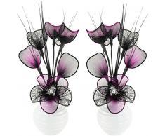 Abbinabili coppia di viola e nero fiori artificiali in vaso nero, decorazioni per la tavola, accessori per la casa, regali, ornamenti, Vetro, Black/Purple in White Vase, 11.5 x 11 x 32 cm