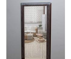 JVL Tenda per Porta Glitterata, 200 x 90 cm Circa, Argento, Taglia Unica