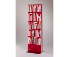 Libreria in metacrilato colore rosso 58 x 12 x 183 cm, scaffale per libri da appoggio dal design moderno e particolare, libreria per casa e ufficio con struttura in metacrilato, Made in Italy