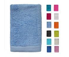DHestia - Set di Asciugamani da Bagno e Doccia, 100% Cotone, 500 g/m², Colori e Misure Grandi, Colore: Cielo, 50 x 100 cm (Confezione da 3)