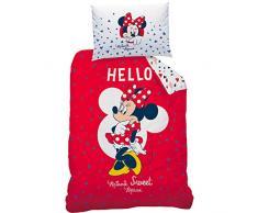 Disney Minnie 044607 Hello Renforce Biancheria da letto, Cotone, rosso, 140 x 200 cm