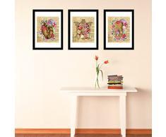 – Adesivi da parete fiore Anatony poster set No. 2 arte murale decalcomanie soggiorno scuola materna ristorante hotel Cafe ufficio decorazioni per la casa decorazione, multicolore