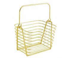 InterDesign Classico Cestino con maniglia per bagno e cucina | Piccolo cestino metallo per cosmetici e accessori | Cesto portaoggetti luccicante | Metallo ottone