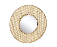 Dcasa bambù Intrecciato specchi da Parete mobili Adesivi Decorazione della casa Unisex Adulto, Colore Unico