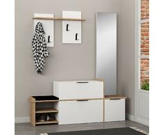 DECORTIE by Homemania Mobile ingresso, MOBILE INGRESSO Ortho, Bianco/rovere