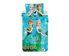 Jerry Fabrics 17BS110 Biancheria da Letto Disney Frozen, 100% Cotone, Turchese, Singolo, 200x90x0.5 cm