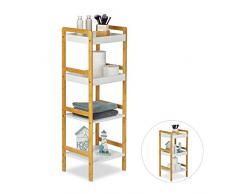 Relaxdays Mobiletto Bagno, Scaffale da Cucina, Aperto e Autoportante, con Mensole, LxP: 36 x 33 cm, Bianco, bambù
