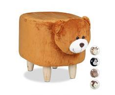 Relaxdays Panchetta a Forma di Orsetto per Bimbi, Sgabello Decorativo per Cameretta Bambini, Legno e Stoffa, Marrone