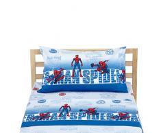 Marvel Spiderman Completo Letto, 100% Cotone, Azzurro, Singolo, 150 x 280/90 x 195 + 23/50 x 80 + 15 cm