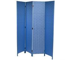 Vacchetti Giuseppe 42056600AZ Paravento, 4 Ante, Legno, Azzurro, 40x1.8x170 cm