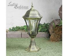 Rustico Lampada da terra base all aperto in Nero e Oro E27Â fino a 60Â W in alluminio pressofuso e vetro base luci wegelampen lampada da esterno lampada da esterno cortile giardino strada privata