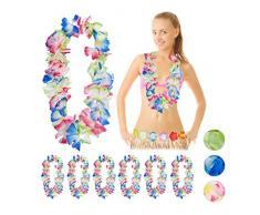 Relaxdays Set di 10 Collane Hawaiane Waikiki, Collane Aloha per Carnevale, Feste di Addio al Nubilato/Celibato, Carnevale, Decorazione Costumi, Stile Caraibico, colorato