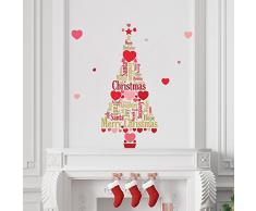Wallflexi Christmas Glow in Dark Magic Fiocchi di Neve Albero di Natale Decorazioni/Adesivi da Parete, Multicolore P, Vinile, Multi-Colour, 90 x 30 x 0.02 cm