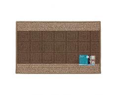 JVL Palmero Lavabile in Lavatrice con Retro in Gomma a Righe zerbino, Brown/Beige, 80 x 50 x 0.5 cm