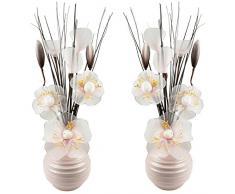 Flourish Creative Florals Abbinabili coppia di zucchero filato rosa fiori artificiali in vaso rosa, decorazioni per la tavola, accessori per la casa, regali, ornamenti, altezza 32 cm