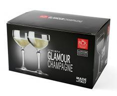 Rcr Confezione 6 Coppe Glamour Champagne 47 Cl Made in Italy, Vetro, Trasparente