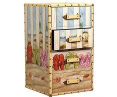 Carrick design flip-flop comò con 4 cassetti, 36 x 61 cm, multicolore