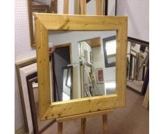 Modec Mirrors Specchi da Parete e da sopravvento in Legno di Pino Massiccio, da 93 mm, Colore: Quercia Chiaro, Dimensioni: 58 cm x 48 cm