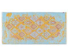 Tappeti di design by Homemania 4 Tappeto Double Face Halimod 4, Misto Cotone, Rosa/Blu/Giallo, 38.0x38.0x4.0 cm