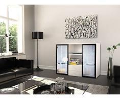 THETA DESIGN by Homemania Cassettiera, CASSETTIERA Andorra, Corpo: bianco, fronte: bianco lucido/vetro nero