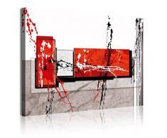 Dekoarte 317 - Quadro moderno su tela montato su telaio di legno di 1 pezzi, stile astratto in tonalità rosse, bianco e grigio, 120x80cm