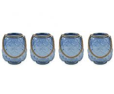 Villa dEste Home Tivoli Coastal Set 4 Lanterne, Blu, 20x20x26 cm, 4 unità