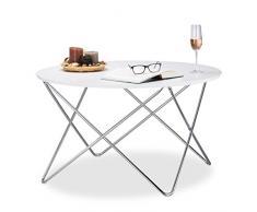 Relaxdays 10021273_723 Tavolino Salotto, Legno, Bianco, 90x90x50 cm
