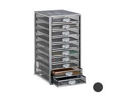 Relaxdays Cassettiera da Scrivania, 10 Cassetti, Formato DIN A4, Porta-Documenti, Box per Lettere e Corrispondenza, Argento