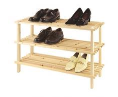 Axentia legno Scarpiera con 3 superfici di appoggio per un totale di 9 paia di scarpe, scarpiera con sistema a incastro e certificazione FSC, lo Scaffale in legno si può senza viti montare, Scarpa Bank con dimensioni circa