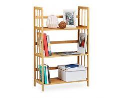 Relaxdays scaffale, legno, 3 ripiani, AxLxP: 88 x 55 x 26 cm, scaffale da bagno, scarpiera, mobiletto, colore: marrone naturale
