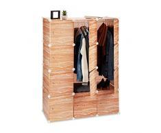Relaxdays - Armadio a Incastro, 8 Scomparti, in plastica, con Ante e aste Appendiabiti, Altezza 145 cm, Effetto Legno