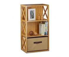 Relaxdays scaffale con cestino, 3 ripiani, cassetto in legno autoportante per bagno, pieghevole, AxLxP: 80 x 42 x 29 cm, colore marrone naturale