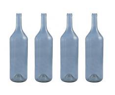 Villa dEste Home Tivoli Coastal Set 4 Bottiglie Decorative, Blu, 15x15x55 cm 4 unità