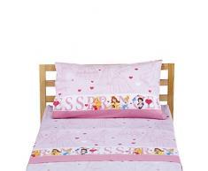 Disney Principesse Completo Letto, 100% Cotone, Rosa, Singolo, 150 x 280/ 90 x 195 + 23/ 50 x 80 + 15 cm