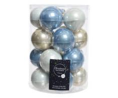Decoris DEO4063149 Palline di Natale, Vetro, Blu Brumo, 6 x 6