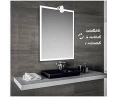 Iced - specchio reversibile da bagno con cornice sabbiata 60x80 cm con lampada alogena 25w - Bathman Srl