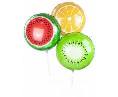 3 palloncini in alluminio frutta su asta