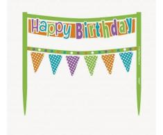Decorazione Happy Birthday multicolor per torta di compleanno