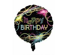 Palloncino in alluminio Happy Birthday fluo