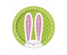 8 Piatti in cartone Coniglietto di Pasqua 18 cm