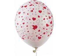 50 palloncini bianchi con cuoricini rossi