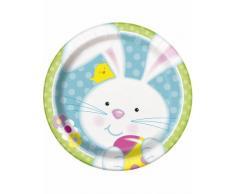 8 piatti piccoli Coniglietto di Pasqua in cartone 23 cm