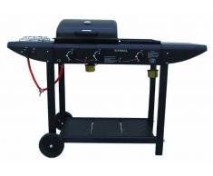 Arredo Giardino Barbecue A Gas Da Giardino Con Fornello Laterale E Piastra In Pietra Lavica Con Coperchio Er8206c-1